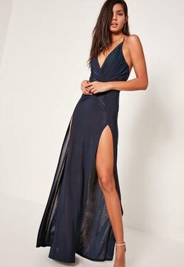 Navy Slinky Wrap Front Maxi Dress