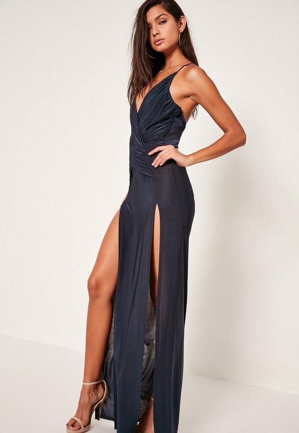 robe longue bleu marine fluide fendue missguided. Black Bedroom Furniture Sets. Home Design Ideas