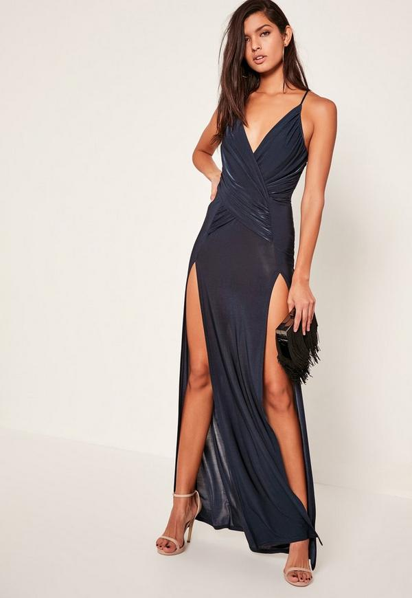 Navy Slinky Wrap Front Maxi Dress - Missguided
