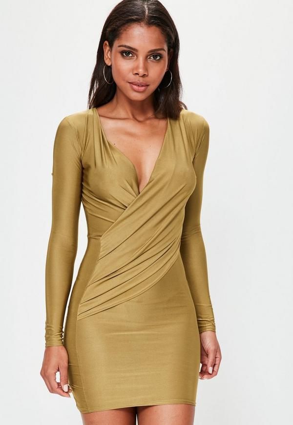 Green Silky Wrap Bodycon Dress