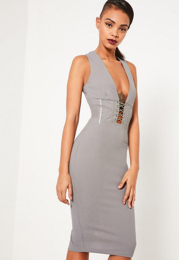 Grey Crepe Sleeveless Corset Detail Midi Dress | Missguided
