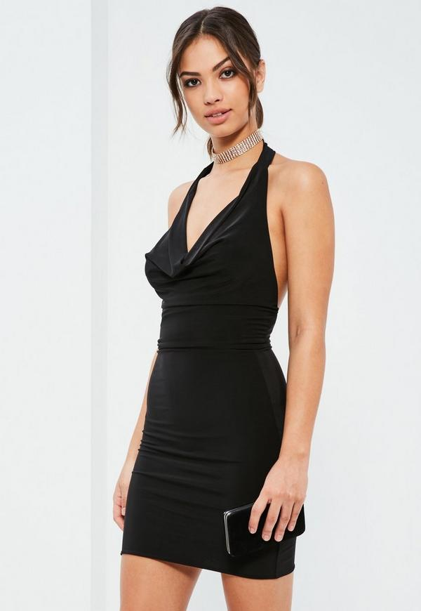 Black Slinky Cowl Front Midi Dress