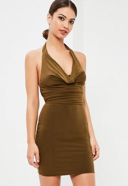 Khaki Slinky Cowl Front Midi Dress