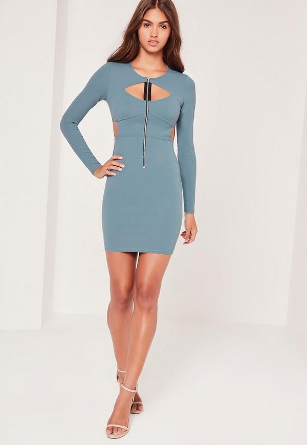 Zip Front Cut Out Bodycon Dress Blue