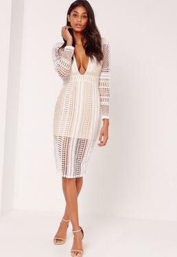 Lace Plunge Midi Dress White
