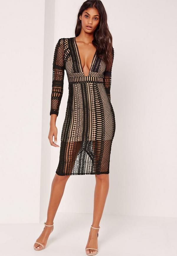 Lace Plunge Midi Dress Black