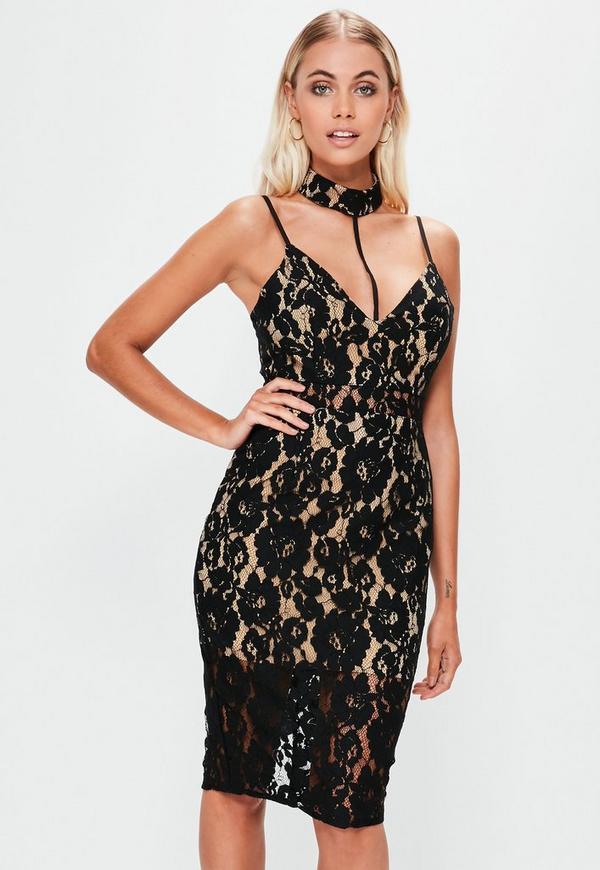 Lace Choker Detail Midi Dress Black