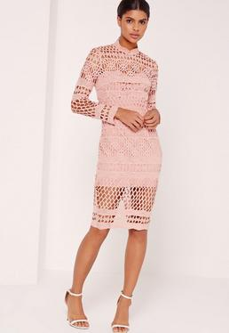 Lace High Neck Midi Dress Pink
