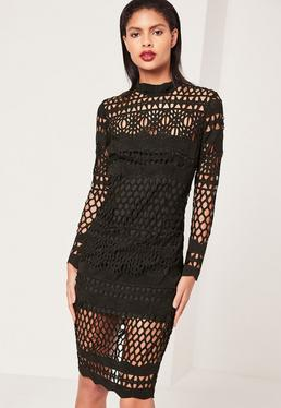 Black Lace High Neck Midi Dress
