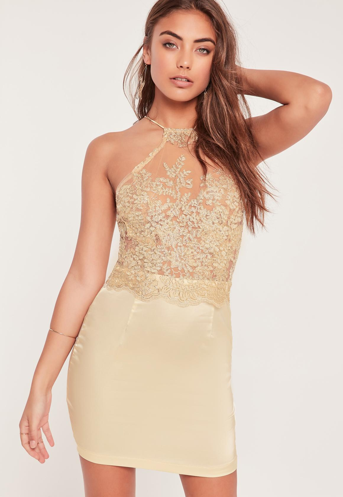 Organza Lace Bodycon Dress Gold - Missguided