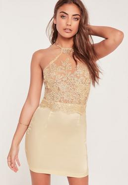 Organza Lace Bodycon Dress Gold