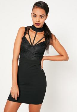 Black Lace Cami Choker Bodycon Dress