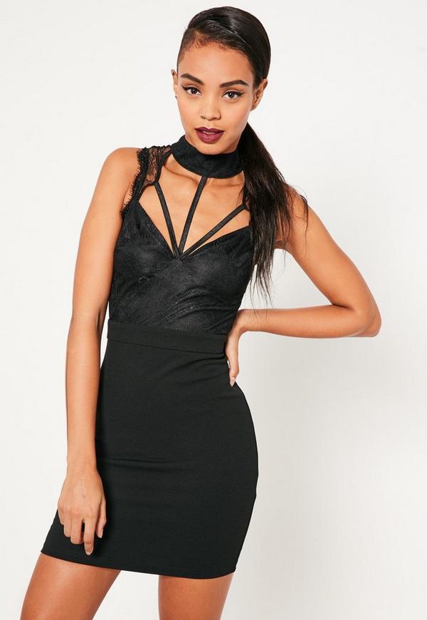 Black Lace Cami Choker Bodycon Dress