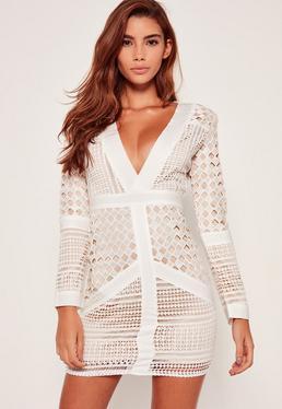 White Lace Plunge Bodycon Dress