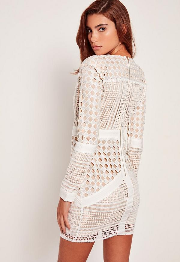 white lace plunge bodycon dress missguided