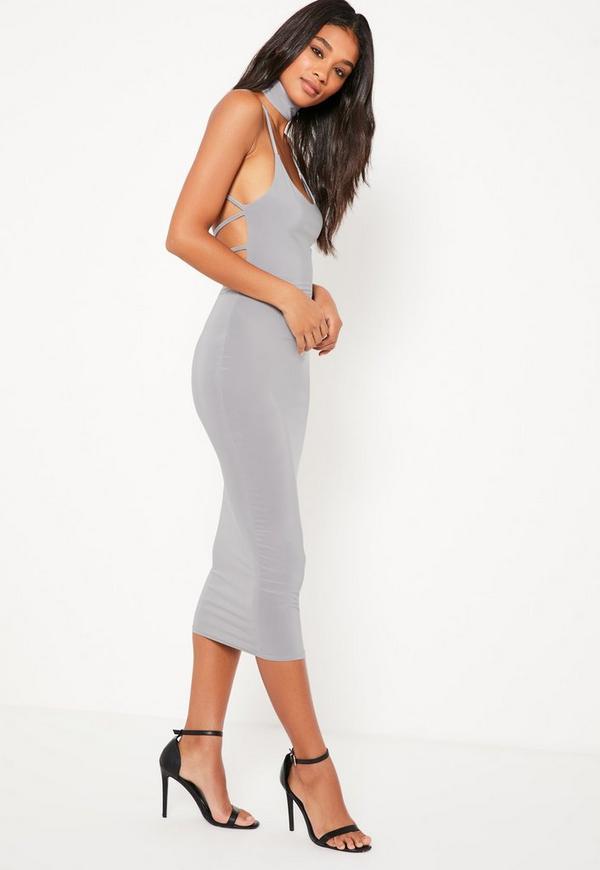 Grey Slinky Choker Detail Strappy Back Midi Dress