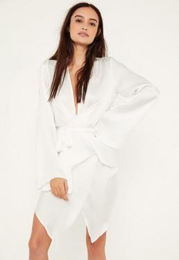White Satin Wrap Mini Dress