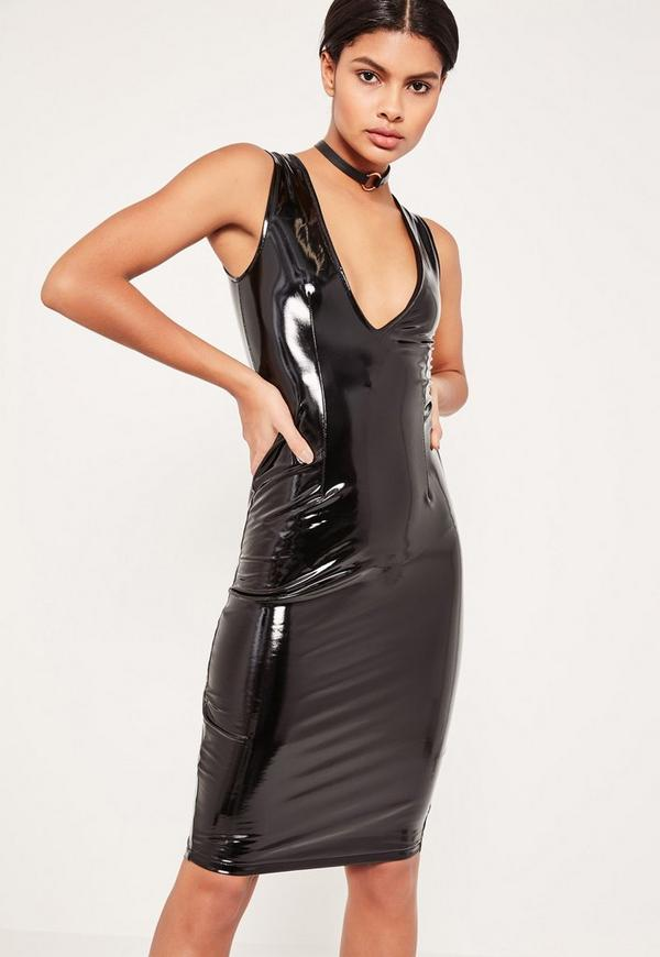 Black Sleeveless Pvc Dress Missguided