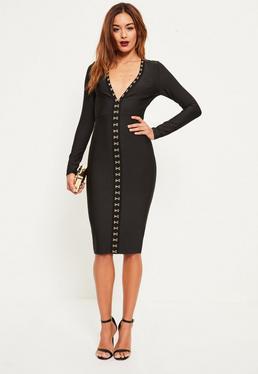 Czarna bandażowa sukienka midi z ozdobnymi haftkami