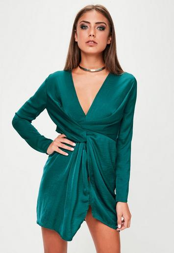Green Satin Wrap Mini Dress - Missguided