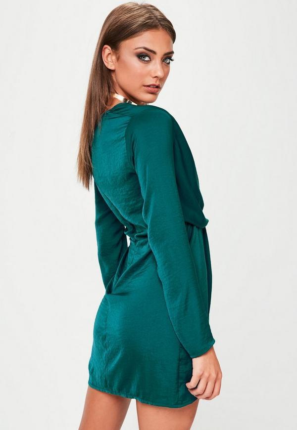 Green Satin Wrap Mini Dress Missguided