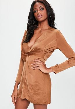 Copper Silky Plunge Wrap Shift Dress