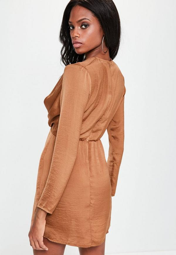 1707236635 Copper Silky Plunge Wrap Shift Dress. Previous Next