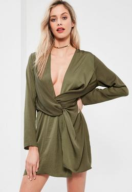 Khaki Satin Wrap Mini Dress