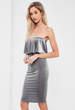 Grey Velvet Double Layer Midi Dress