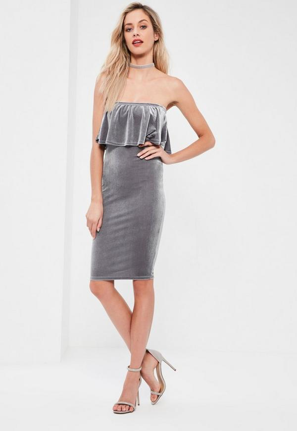 Grey Velvet Double Layer Midi Dress | Missguided