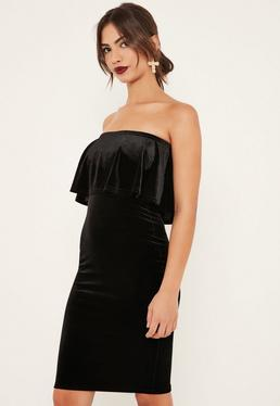 Black Velvet Double Layer Midi Dress