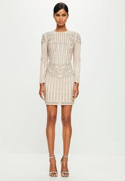 Peace + Love Silver Embellished Long Sleeve Dress
