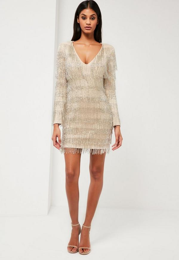 Peace Love Silver Embellished Fringe Dress