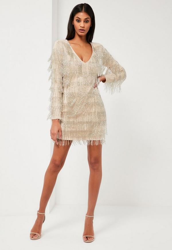 peace love silver embellished fringe dress missguided