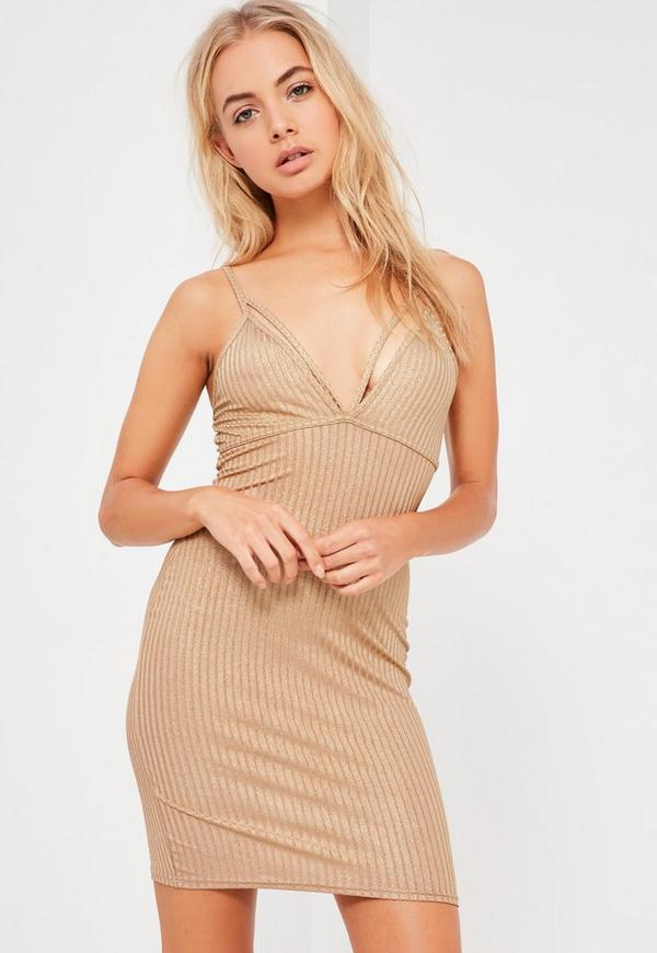 Gold Shimmer Strap Detail Bodycon Dress