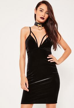 Black Velvet Strap Detail Bodycon Dress