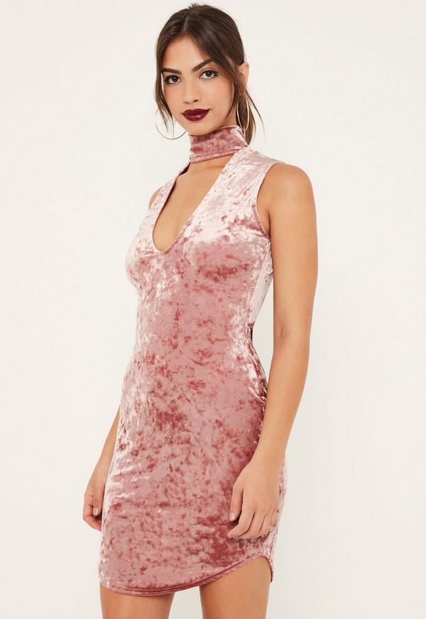 Pink Crushed Velvet Choker Detail Bodycon Dress