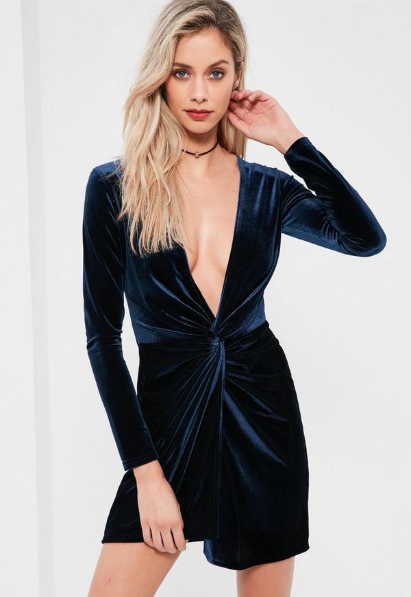 Navy Velvet Knot Front Bodycon Dress