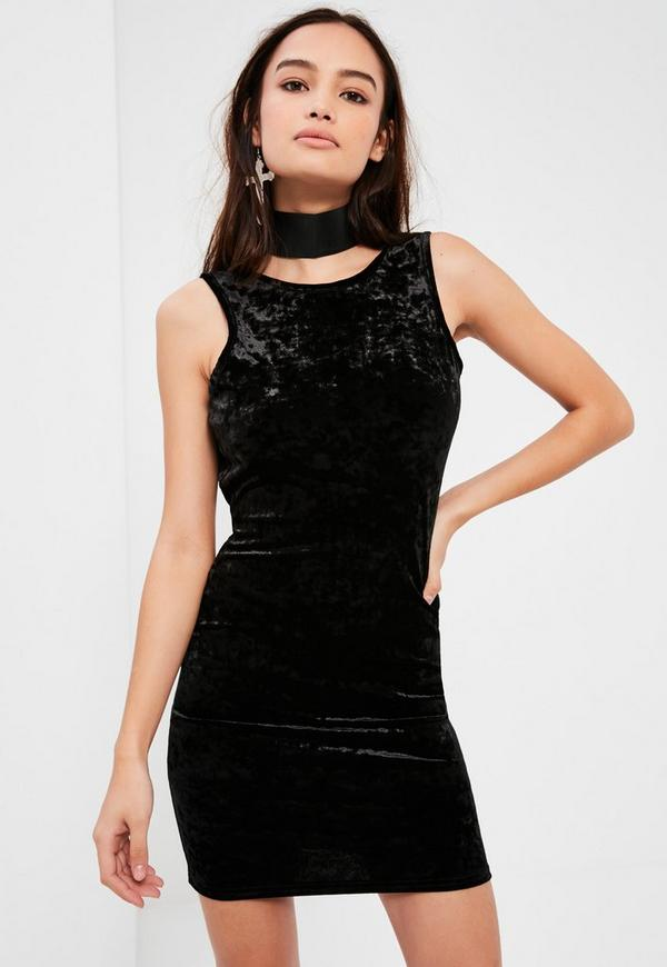 Black Crushed Velvet Low Back Bodycon Dress