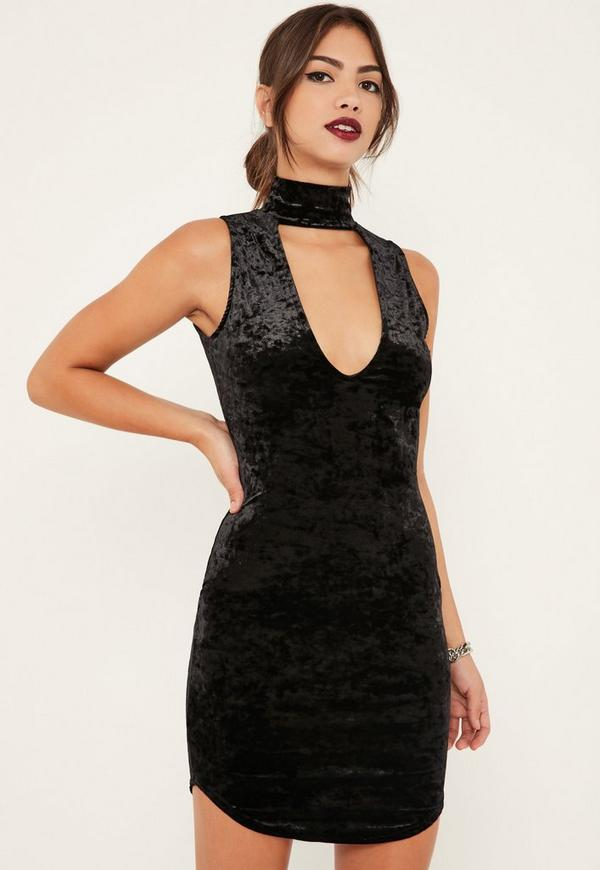Black Crushed Velvet Choker Detail Bodycon Dress