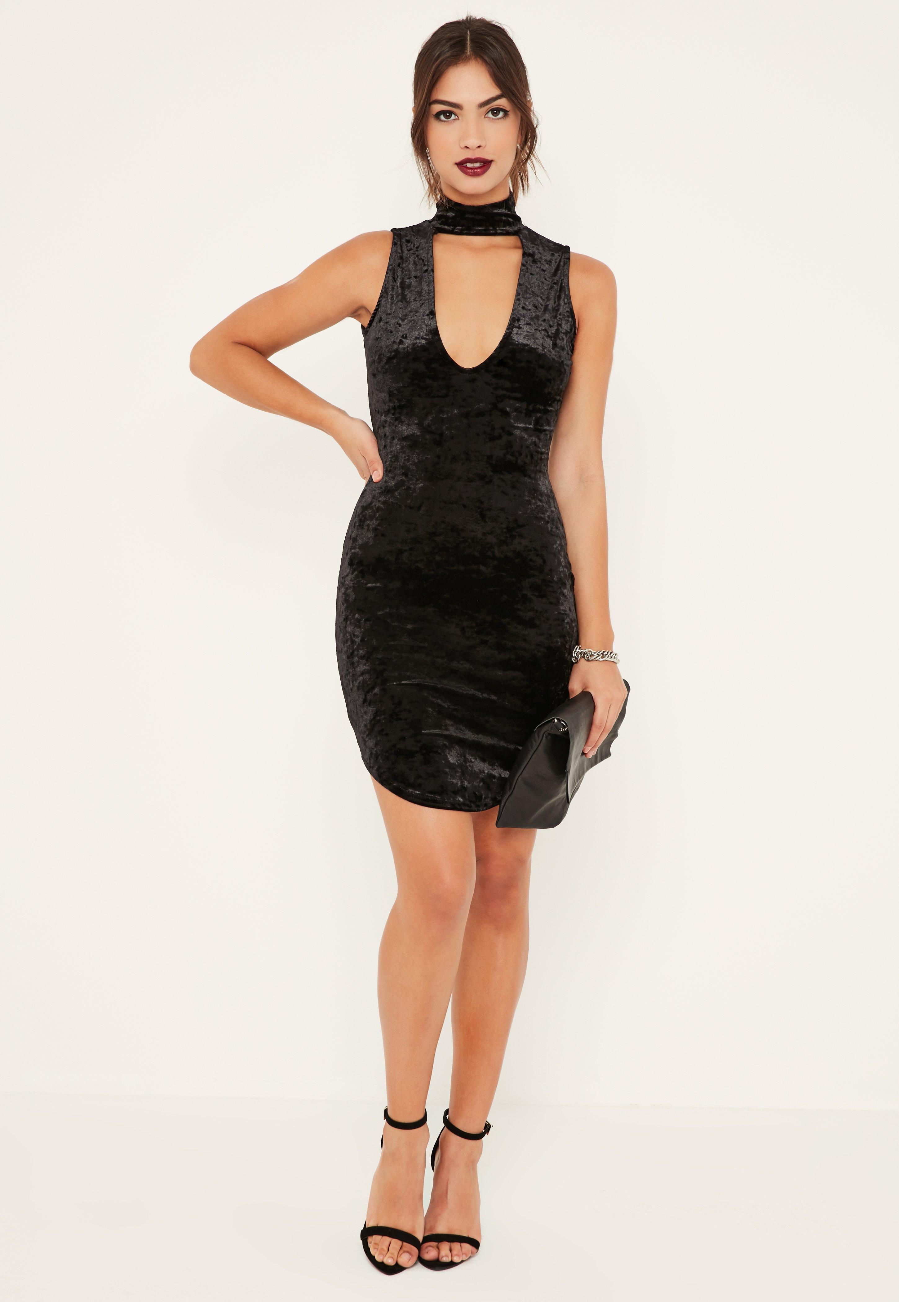 Black Crushed Velvet Choker Detail Bodycon Dress