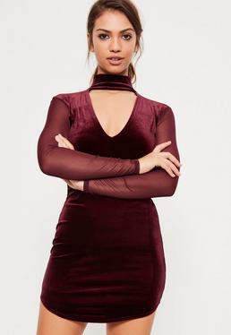 Burgundy Velvet Mesh Plunge Choker Dress