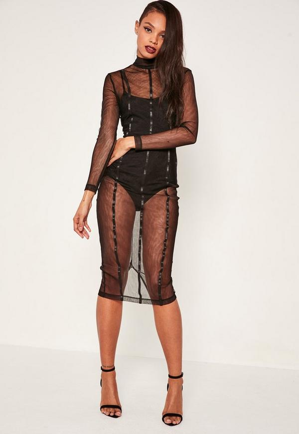 Black Mesh Panelled Midi Dress