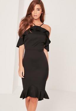 Black Frill Midi Dress