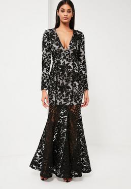 Peace + Love Black Lace Fishtail Maxi Dress
