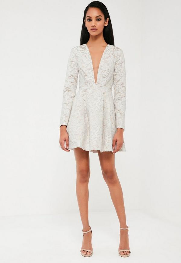Peace + Love White Lace Plunge Neck Skater Dress