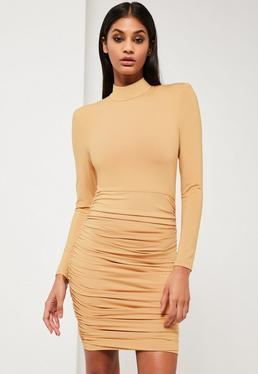 Peace + Love Nude Ruched Mini Dress