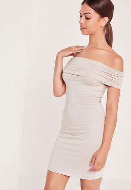 Jersey Bardot Mini Dress Nude