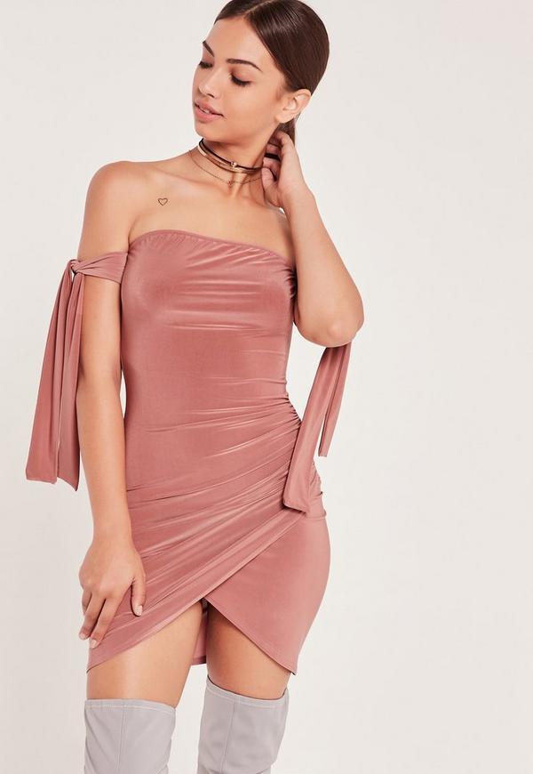 Slinky Tie Detail Bardot Mini Dress Pink