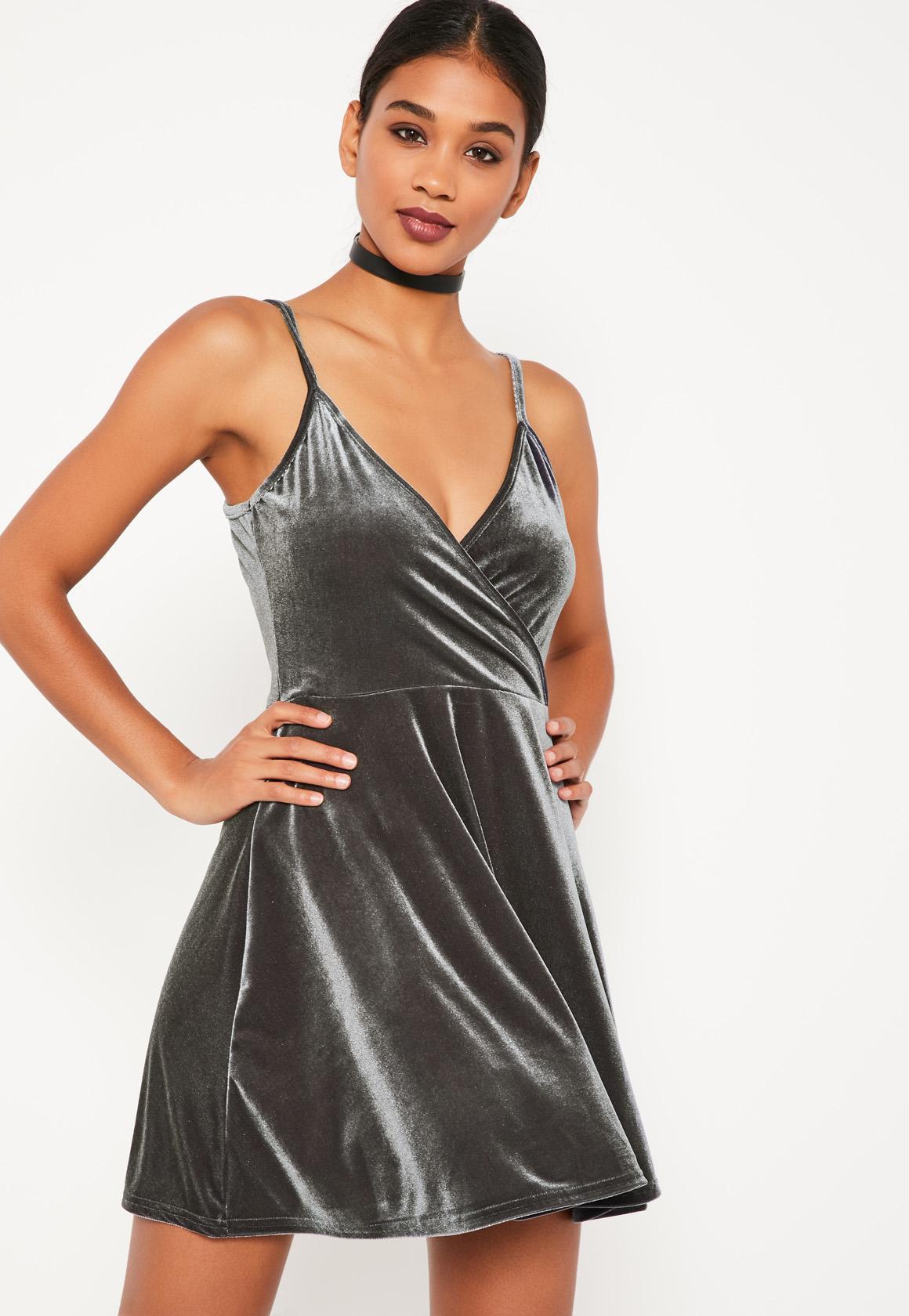 Grey Velvet Skater Dress